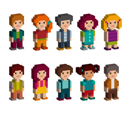 Colourful set of pixel art style isometric characters. Men and women are standing on white background. Vector illustration.