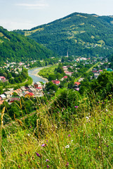 Rakhiv town in summer view from the hill