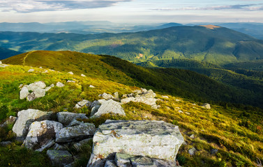 beautiful view of Carpathians in dappled light