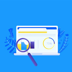 Seo on the computer. Search engine optimization. The first place for a site