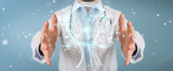 Doctor using digital artificial intelligence interface 3D rendering