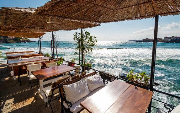 open terrace on the seashore