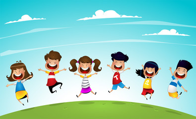 Happy cartoon kids jumping together