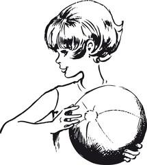 Girl with ball, Retro Vector Illustration