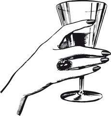 Woman's hand with a drink, Retro Vector Illustration