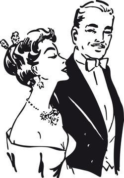 Stylish couple, Retro Vector Illustration