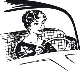 Woman behind the wheel, Retro Vector Illustration