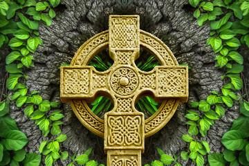 poster, celtic, tree, cross