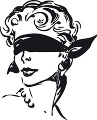Woman with blindfold, Retro Vector Illustration