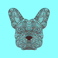 French bulldog head zentangle stylized, , illustration, freehand pencil, hand drawn, pattern. Zen art. Ornate . Lace.
