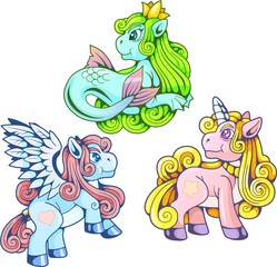cartoon funny pony, set of cute images