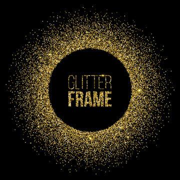 Round frame made of golden glitter isolated on black background. Vector golden frame.