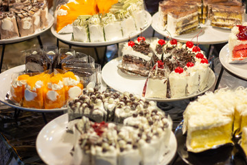 A lot of cake in bakery shop.