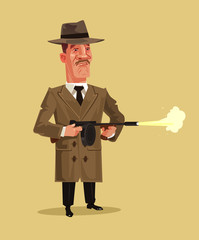 Old school retro gangster mascot character shooting weapon gun. Crime ghetto battle shoot breaking low concept