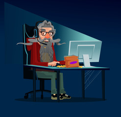 Happy smiling modern grandfather grandpa old man gamer user character sitting on table and play computer game searching information online by internet using laptop pc. Freelance work concept