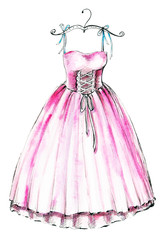 Watercolor illustration with a pink ballet dress. Sketch, drawing by hand