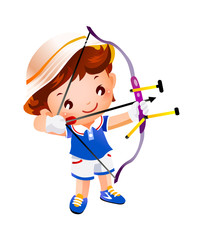 Boy with a toy bow and arrow top
