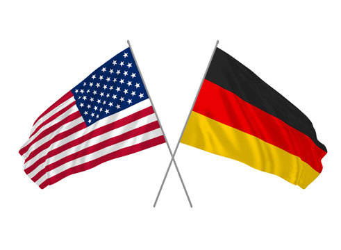 USA and Germany state waving crossed flags as a sign of cooperation and partnership.