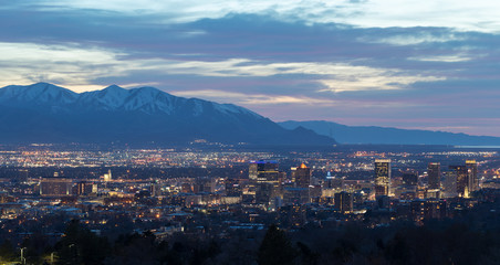 Salt Lake City Utah evening skyline
