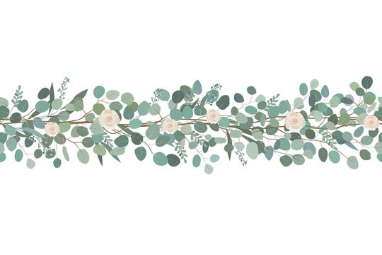 Elegant seamless border from roses and eucalyptus branches. Floral garland. Vector illustration.