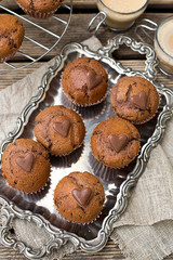 Chocolate muffins with chocolate chips and chocolate heart