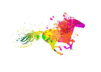 Runnign horse with grunge paint splashes.