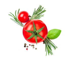 Fresh Red  Tomato with spices and herbs isolated on white background, close up. Food Ingredients top view.