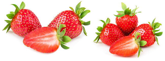 Strawberry isolated on white background. Red ripe whole strawberry with sliced half and leaves, macro.