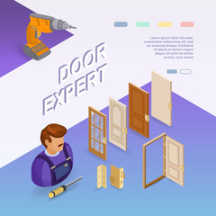 Door installing service. Isometric concept. Worker, equipment.