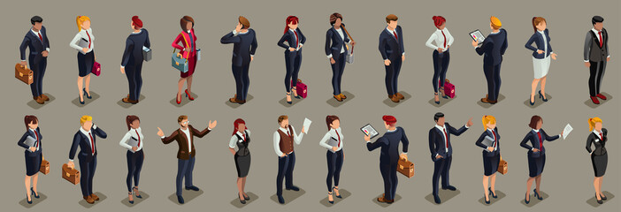 Businessmen illustrated people isometric