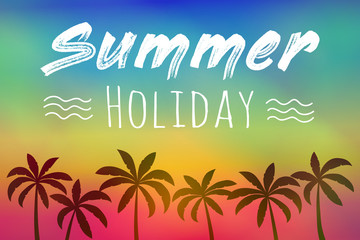 Summer calligraphy. Colourful poster with palm trees and text. Vector.