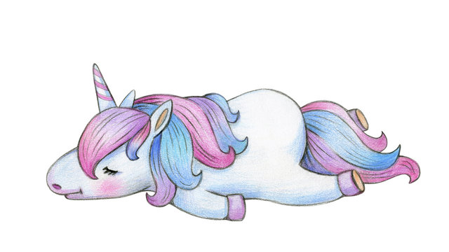 Cute sleeping  unicorn cartoon, isolated on white.