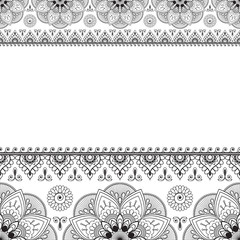 Indian Mehndi Henna line lace element with circles pattern card for tattoo on white background