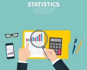 Statistical data presented. Financial report. Research, project management, planning, accounting, analysis, statistics concept. Flat cartoon design, vector illustration on background.