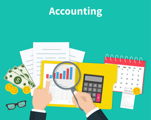 Accounting. Businessman accounting, planning strategy, analysis, marketing research, financial management. Business meeting, teamwork, brainstorming. Team of businessmen in work. Vector illustration.