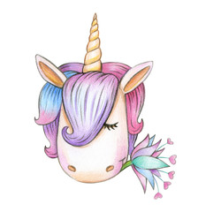 Cute unicorn head, isolated on white.