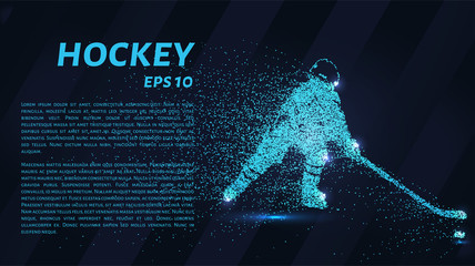 Hockey from the particles. Hockey consists of small circles. Hockey player breaks down into molecules.