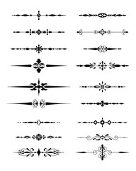 Decorative design element collection traced by hand from own sketch. Dividers set.