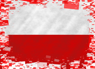 Illustration of a Polish flag with a frame of small flags