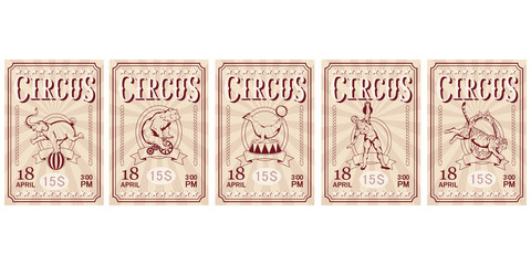 Set of Circus ticket. Carnival poster. Vintage circus show. Different circus animals.