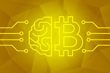 Bitcoin cryptocurrency concept. Brain and btc sign on golden triangles background illustration. Intelligence technology.