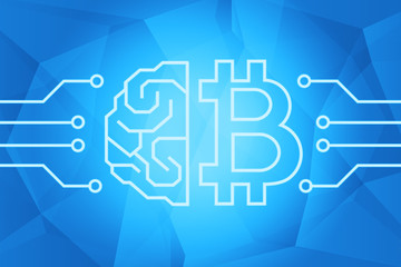 Bitcoin cryptocurrency concept. Brain and btc sign on blue triangles background illustration. Intelligance technology.