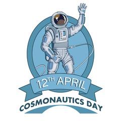 Astronaut with helmet. Space cosmonaut in spacesuit. Vector astronaut character.