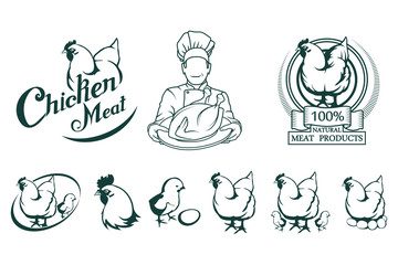 Chicken meat logo. Meat food.Chicken farming products. Fresh roast chicken.