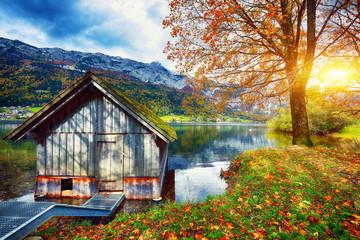 Alpine meadows at autumn near Grundlsee lake.