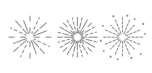 Sun rays hand drawn, Set of vintage hand drawn sunbursts. Vector illustration isolated on white background.