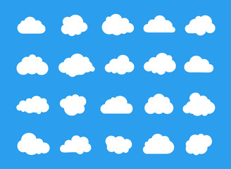 Wall Mural - Clouds line art icon collection. Storage solution element, networking, cloud and meteorology concept. Vector illustration isolated on white background.