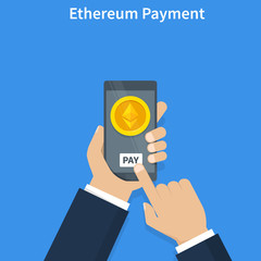 Ethereum Pay. Concept of cryptocurrency technology, ethereum exchange, mobile banking. Hand holding smartphone, pay and send ethereums. Vector illustration.