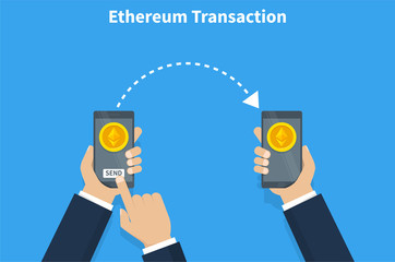 Ethereum transaction. Concept of cryptocurrency technology, ethereum exchange, mobile banking. Hand holding smartphone, pay and send ethereums. Vector illustration.