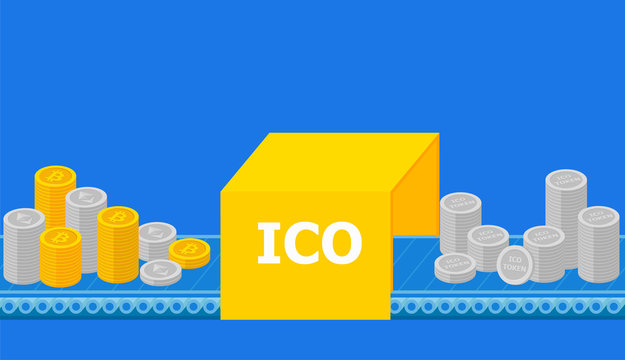 Initial coin offering, ICO Token production process research, investments cryptocurrency. Token sales in exchange for bitcoin, ethereum. IT startup crowdfunding. Vector illustration.